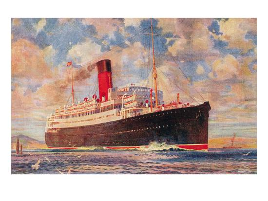 Ocean Liner with Clouds--Art Print
