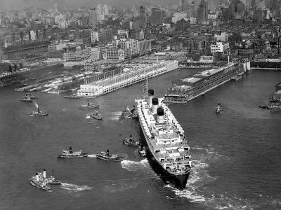 Ocean Liner With Tug Boats in NY Harbor-George Marks-Photographic Print
