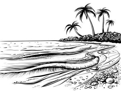 Ocean or Sea Beach with Waves, Sketch. Black and White Vector Illustration of Sea Shore with Palms.- Melok-Art Print