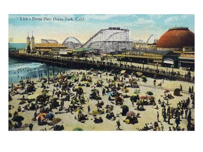 Ocean Park, California - View of Lick's Dome Pier-Lantern Press-Art Print