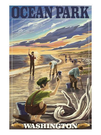 Ocean Park, Washington - Clam Diggers-Lantern Press-Art Print