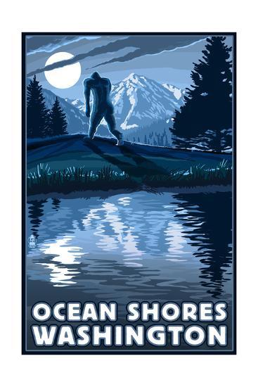 Ocean Shores, Washington - Bigfoot and Mountain-Lantern Press-Art Print