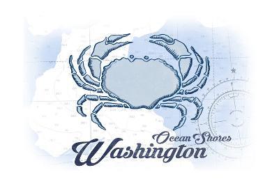 Ocean Shores, Washington - Crab - Blue - Coastal Icon-Lantern Press-Art Print