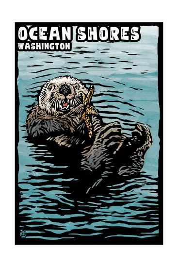 Ocean Shores, Washington - Sea Otter - Scratchboard-Lantern Press-Art Print