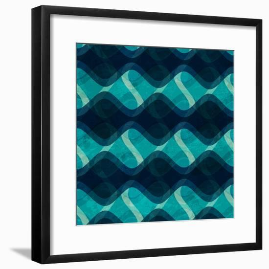 Ocean Wave Seamless Texture with Grunge Effect- gudinny-Framed Premium Giclee Print