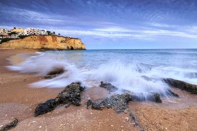 Ocean Waves Crashing on Rocks and Beach Surrounding Carvoeiro Village at Sunset, Lagoa Municipality-Roberto Moiola-Photographic Print