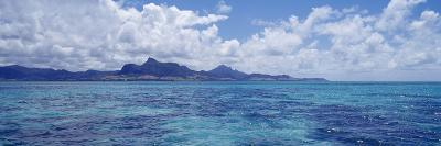 Ocean with Mountains in the Background, Mauritius--Photographic Print
