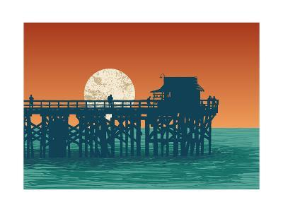 Oceanic View with Silhouette Pier and Full Moon. Vector Illustration.-jumpingsack-Art Print