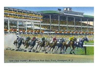 Oceanport, New Jersey - Monmouth Park Race Track Scene-Lantern Press-Art Print