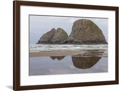 Oceanside, Oregon. Three Arch Rocks Seen from the Beach at Low Tide-Michael Qualls-Framed Photographic Print