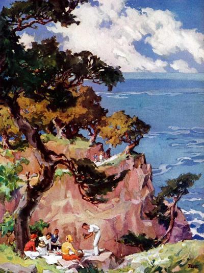 """""""Oceanside Picnic,""""February 1, 1939-G. Kay-Giclee Print"""
