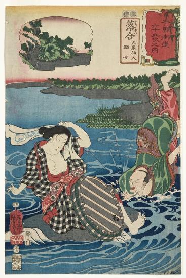 Ochiai: Kume Sennin and the Laundress, 1852-Utagawa Kuniyoshi-Giclee Print