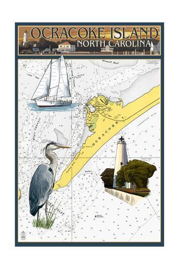 Ocracoke Island, North Carolina - Nautical Chart-Lantern Press-Art Print