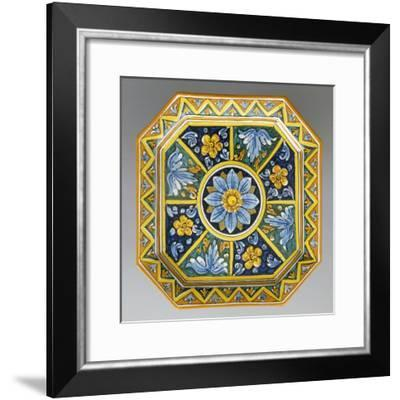 Octagonal Dish with Flowers on Blue Background--Framed Giclee Print