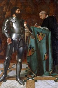 Knight Dictating a Letter to a Monk, 1865 by Octave Penguilly l'Haridon