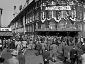 October 1947 Dodger Baseball Fans Pour into Main Entrance Ebbets Field Brooklyn