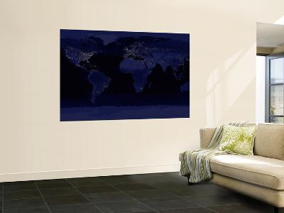 October 23, 2000, Global View of Earth's City Lights--Wall Mural