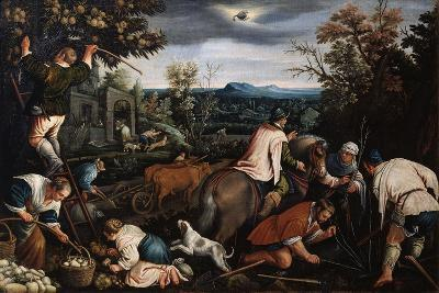 October' (From the Series 'The Seasons), Late 16th or Early 17th Century-Leandro Bassano-Giclee Print