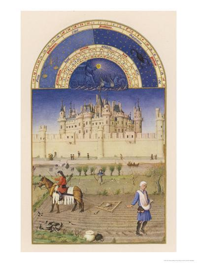 October Peasants Sow Next Year's Crops Within Sight of the Palais Du Louvre Paris-Pol De Limbourg-Giclee Print