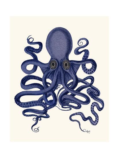 Octopus 9, Blue-Fab Funky-Art Print