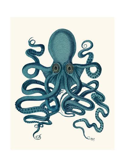 Octopus 9, Teal-Fab Funky-Art Print