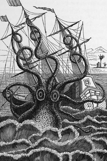 Octopus Attacking a Ship-Middle Temple Library-Photographic Print