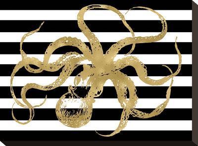 Octopus Black White Stripe-Amy Brinkman-Stretched Canvas Print