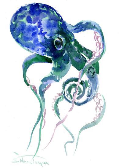Octopus Blue Green-Suren Nersisyan-Art Print