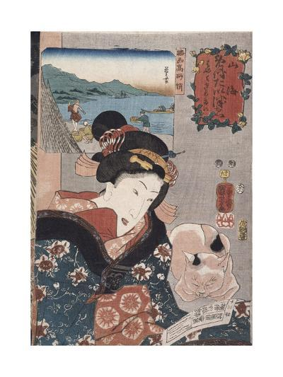 Octopus Fishing at Takasago in Harima Province', from the Series 'Famous Products of the Provinces'-Utagawa Kuniyoshi-Giclee Print