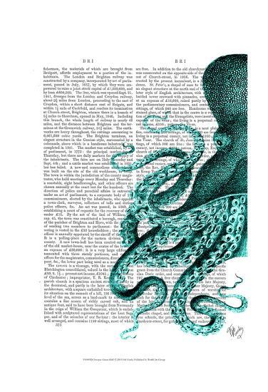 Octopus Green Half-Fab Funky-Art Print