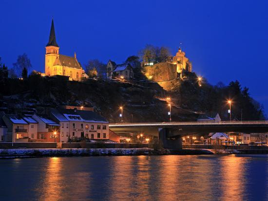 Od Town with Castle in Winter, Saarburg, Saar Valley, Rhineland-Palatinate, Germany, Europe-Hans Peter Merten-Photographic Print