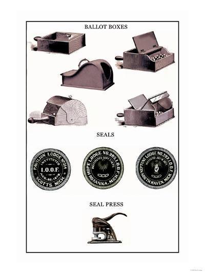 Odd Fellows: Ballot Boxes, Seals, Seal Press--Art Print