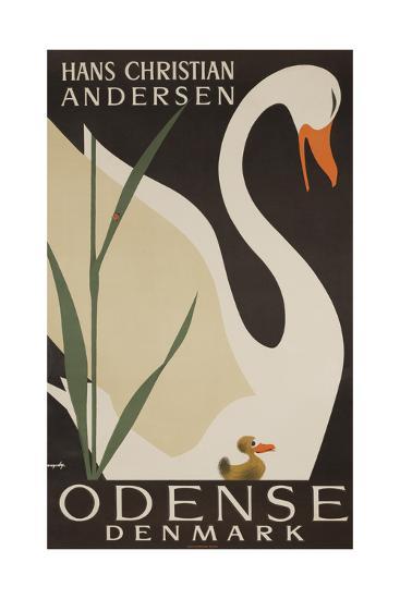 Odense Denmark Travel Poster, Hans Christian Andersen Ugly Duckling--Giclee Print