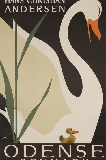 Odense Denmark Travel Poster, Hans Christian Andersen Ugly Duckling-David Pollack-Photographic Print