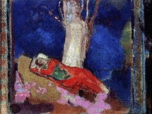 A Woman Lying under the Tree, 19th or Early 20th Century by Odilon Redon