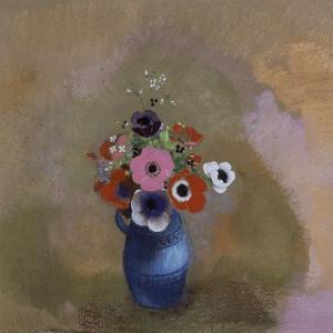 Anémones dans un vase bleu by Odilon Redon