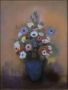 Anémones et lilas dans un vase bleu by Odilon Redon