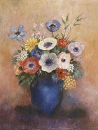 Bouquet of Flowers in a Blue Vase by Odilon Redon