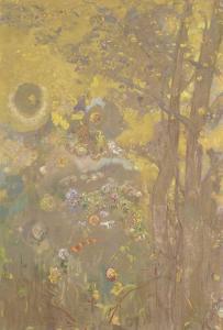 Décoration Domecy : arbres sur fond jaune by Odilon Redon