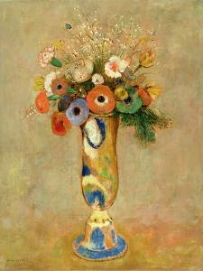 Flowers in a Painted Vase by Odilon Redon