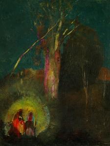 La Fuite en Egypte - the Flight to Egypt. Canvas,45 x 58 cm R.F.1984-50. by ODILON REDON