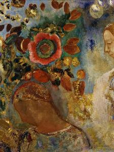 Two Young Girls with Flowers; Deux Jeunes Filles En Fleurs, 1912 by Odilon Redon