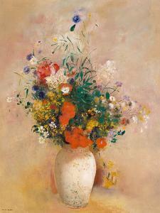 Vase of Flowers (Pink Background) by Odilon Redon