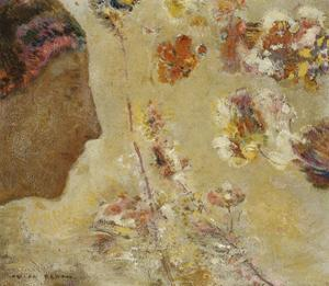 Woman in Profile with Butterfly and Flowers by Odilon Redon