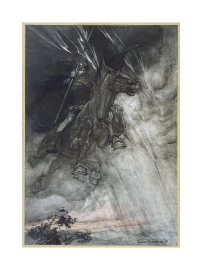 Odin, Wotan Rides, Rackham-Arthur Rackham-Giclee Print