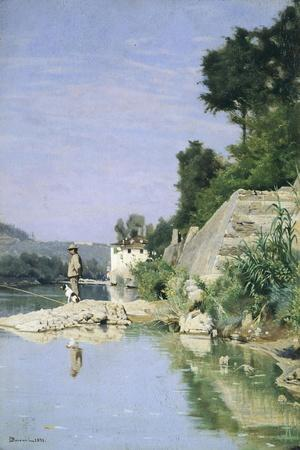 Fisherman at River or Fisherman on Arno River at Casaccia, 1871