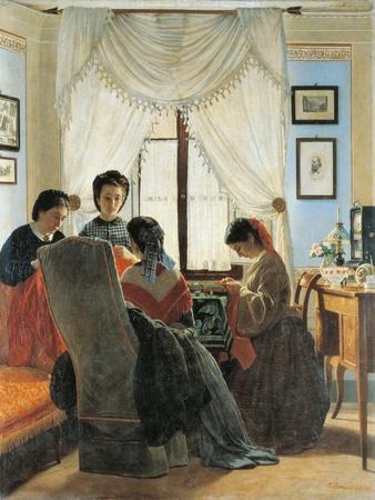 Women Stitching Red Shirts, 1863