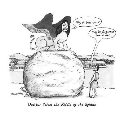 Oedipus Solves the Riddle of the Sphinx - New Yorker Cartoon-J.B. Handelsman-Premium Giclee Print
