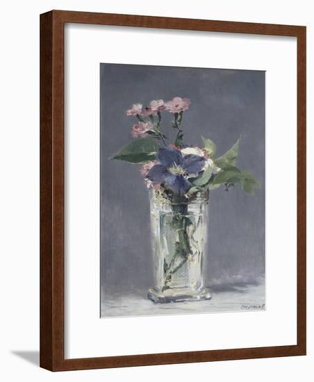 Oeillets et clématites dans un vase de cristal-Edouard Manet-Framed Giclee Print