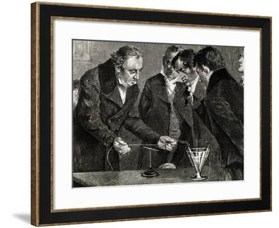 Oersted, Hans Christian (1777-1851). Danish Physicist and Chemist. Oersted Discovers…--Framed Giclee Print